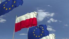 Bandeiras de ondulação do Polônia e da UE da União Europeia, animação 3D loopable ilustração stock