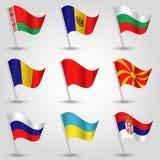 Bandeiras de ondulação Europa Oriental do vetor no polo de prata - ícone dos estados belarus, Bulgária, moldova, Macedônia norte, ilustração stock