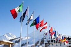 Bandeiras de ondulação na neve - imagens de stock