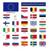 Bandeiras de país 2014 da União Europeia Imagem de Stock Royalty Free