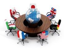 Bandeiras de país G7 em cadeiras do escritório Fotografia de Stock
