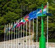 Bandeiras de país na Croácia, Rab Island, Rab City Fotografia de Stock Royalty Free