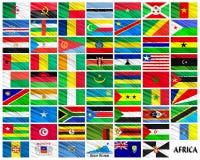 Bandeiras de países africanos em ordem alfabética Imagens de Stock