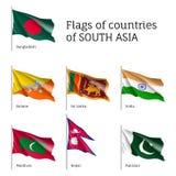 Bandeiras de países asiáticos sul ilustração royalty free