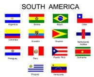 Bandeiras de países de Ámérica do Sul Fotografia de Stock Royalty Free