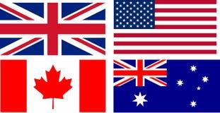 Bandeiras de países de língua inglesa Fotos de Stock Royalty Free