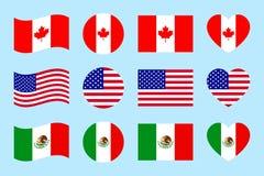 Bandeiras de países do norte de América Ilustração do vetor Bandeiras do oficial de Canadá, EUA, México Formas geométricas Estilo ilustração stock