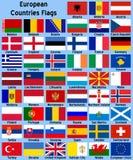 Bandeiras de países europeus Fotografia de Stock Royalty Free