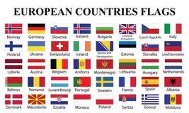 Bandeiras de países europeus com nomes de países ilustração stock