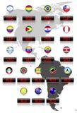 Bandeiras de países com símbolos de moeda oficiais Imagens de Stock Royalty Free