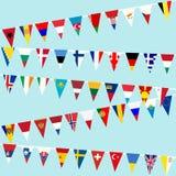 Bandeiras de países europeus Bunting Fotos de Stock Royalty Free