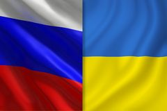 Bandeiras de Rússia e de Ucrânia ilustração stock