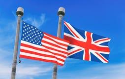 Bandeiras de Reino Unido e de EUA Fotografia de Stock Royalty Free