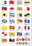 Bandeiras de sinal marítimas com alfabeto fonético Fotos de Stock
