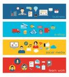 Bandeiras de Team Work e do negócio Fotografia de Stock