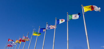 Bandeiras de todas as províncias canadenses e território Foto de Stock Royalty Free