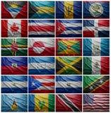 Bandeiras de todos os países norte-americanos, colagem Fotografia de Stock