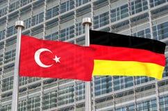 Bandeiras de Turquia e de Alemanha Fotos de Stock