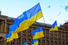 Bandeiras de Ucrânia fotografia de stock royalty free