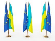 Bandeiras de Ucrânia e da UE Fotografia de Stock Royalty Free