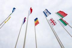 Bandeiras de vários países europeus Imagens de Stock