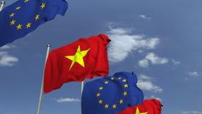 Bandeiras de Vietname e da União Europeia na reunião internacional, animação 3D loopable ilustração do vetor