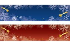 Bandeiras decorativas do Natal com flocos de neve foto de stock