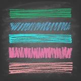 Bandeiras desenhados à mão do giz da garatuja no quadro-negro fotos de stock