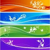Bandeiras desing florais Fotos de Stock