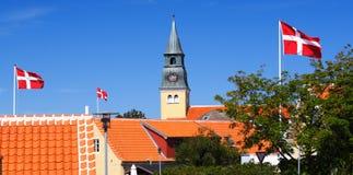 Bandeiras dinamarquesas imagem de stock