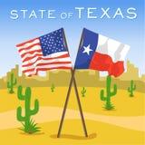 Bandeiras do americano e do Texas no deserto ilustração royalty free