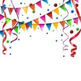 Bandeiras do aniversário com fita Imagem de Stock