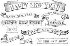 Bandeiras do ano novo feliz do estilo do vintage Imagem de Stock Royalty Free