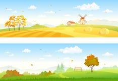 Bandeiras do campo do outono ilustração stock