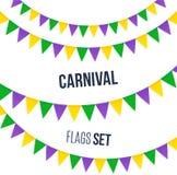 Bandeiras do carnaval ajustadas isoladas no fundo branco ilustração do vetor