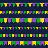 Bandeiras do carnaval ajustadas isoladas no fundo escuro Imagens de Stock