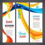 Bandeiras do conceito do esporte 2016 com linhas coloridas e ondas Fotos de Stock