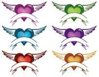 Bandeiras do coração Imagens de Stock Royalty Free
