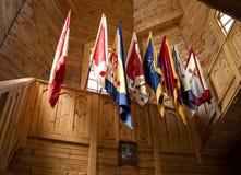 Bandeiras do cossaco que penduram na igreja Fotos de Stock Royalty Free
