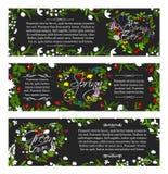 Bandeiras do cumprimento do vetor de flores da estação de mola Fotos de Stock