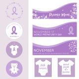 Bandeiras do dia da prematuridade do mundo, cartazes e moldes do vetor dos crachás Fotos de Stock Royalty Free