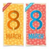 Bandeiras do dia das mulheres Imagens de Stock Royalty Free
