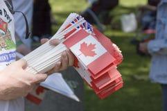 Bandeiras do dia de Canadá Foto de Stock Royalty Free