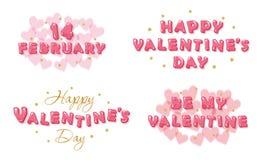 Bandeiras do dia de Valentim ajustadas Letras lustrosas decorativas com elementos do brilho ilustração stock