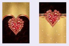 Bandeiras do dia de Valentim com coração do rubi Imagem de Stock Royalty Free