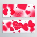 bandeiras do dia de Valentim com corações borrados Imagem de Stock Royalty Free