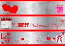 Bandeiras do dia do Valentim. vetor. Imagem de Stock