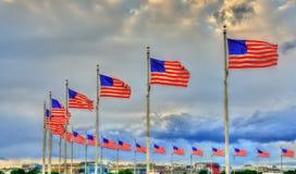 Bandeiras do Estados Unidos em Washington Monument Washington, C C Imagens de Stock Royalty Free