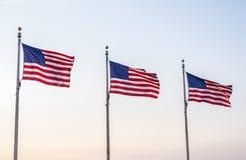 Bandeiras do Estados Unidos que voam no vento 2 Fotografia de Stock Royalty Free