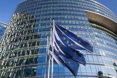 Bandeiras do Eu em Bruxelas Bélgica fotografia de stock royalty free
